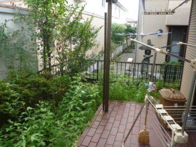 荒れた庭の整備|引越し先の庭の不要な木の撤去と雑草対策 京都府宇治市